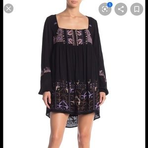 Free People Rhiannon Embroidered Mini Dress Black